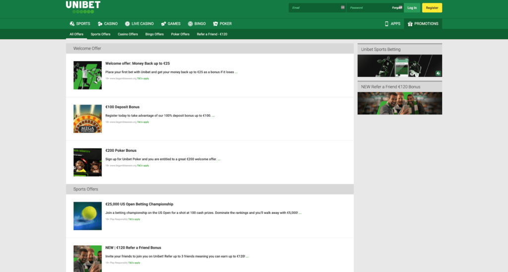 Unibet Sportsbook Promotions Screenshot