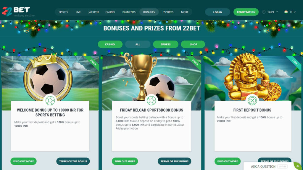 22Bet Sports Promotions and Bonus offers